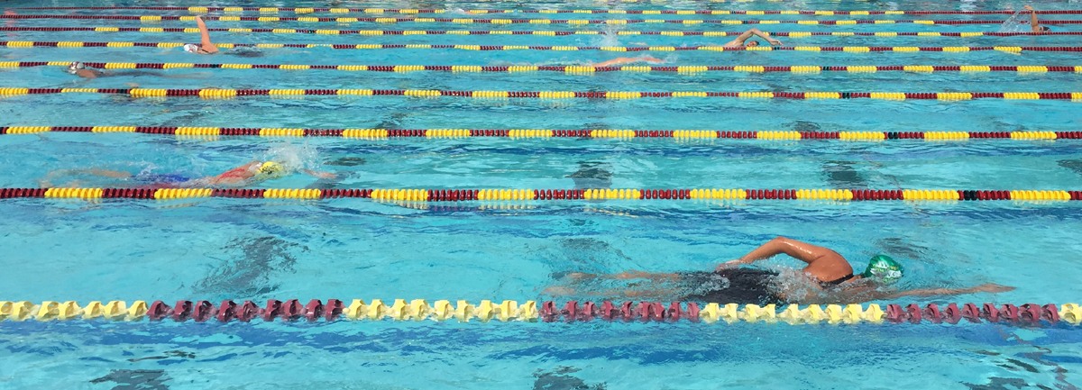 swimmers in De Anza College pool