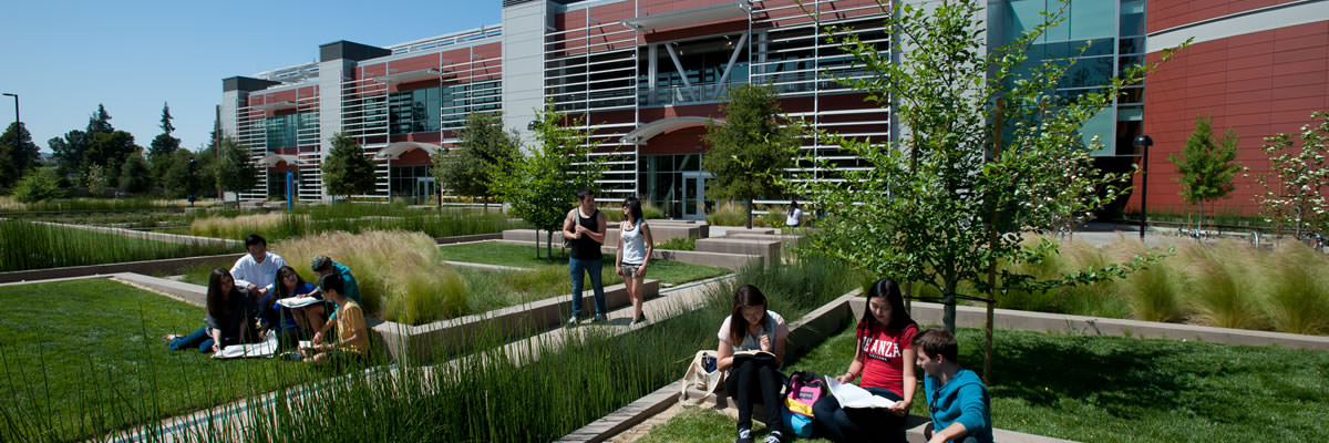 students studying outside the Media Learning Center