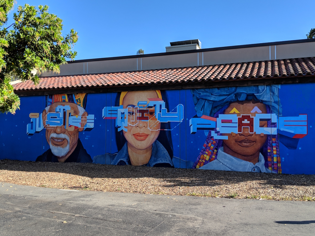 50th Anniversary mural: Justice, Equity, Peace