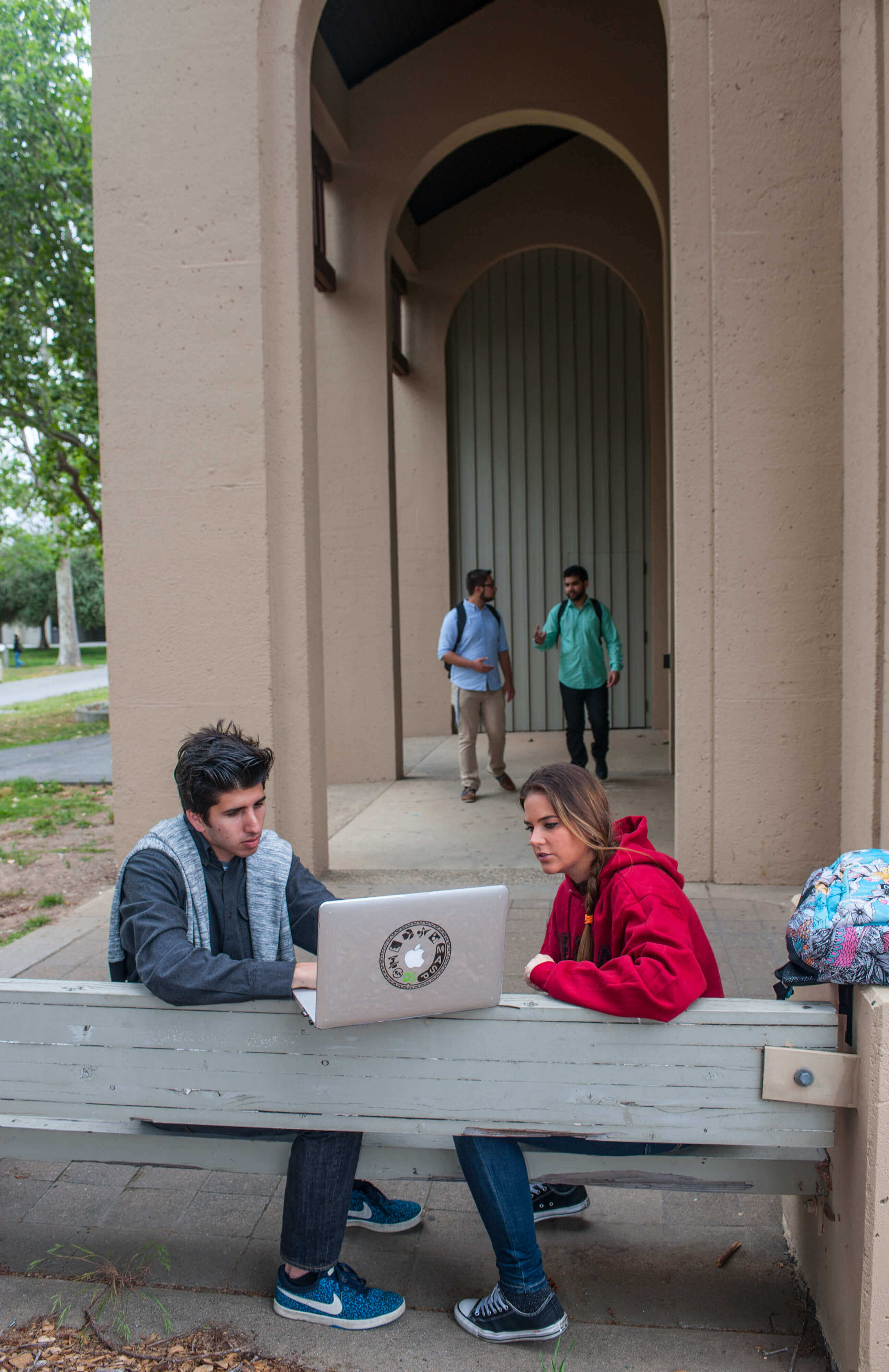 students at laptop