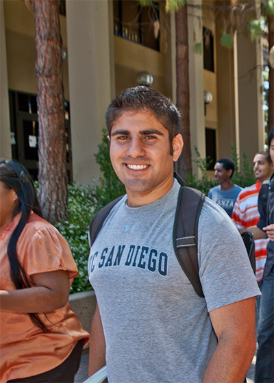 student in UCSD shirt