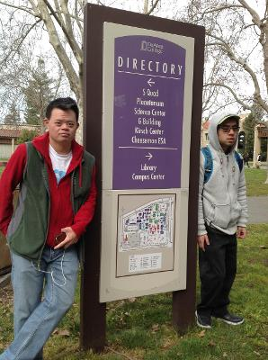 Students exploring the De Anza Campus to learn more about the school and future classes.