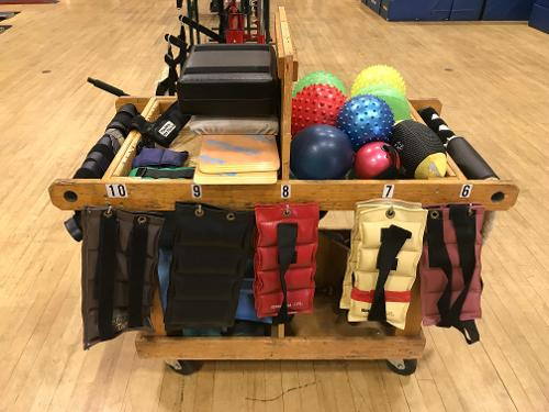 APE view of exercise balls and weights