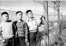 Three Japanese boys behind fence