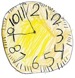 image of child's   rendering of a clock