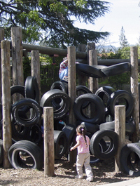 Children on the tire playstructure