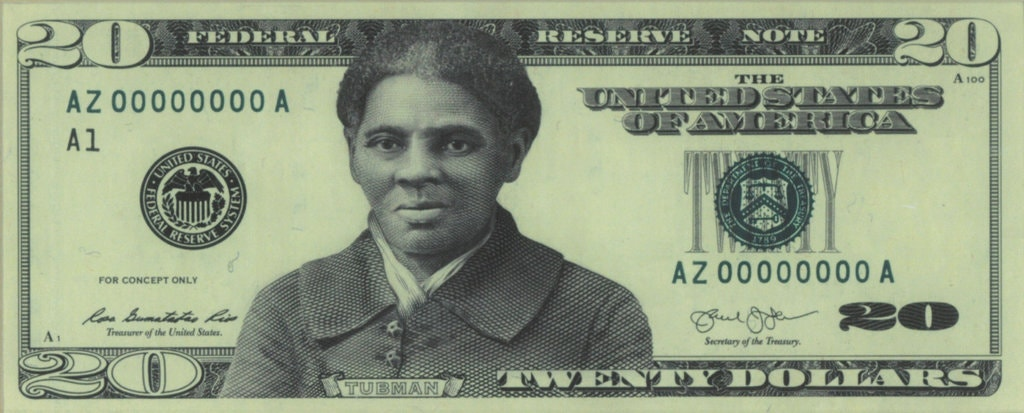 sample of $20 bill with Harriet Tubman's portrait