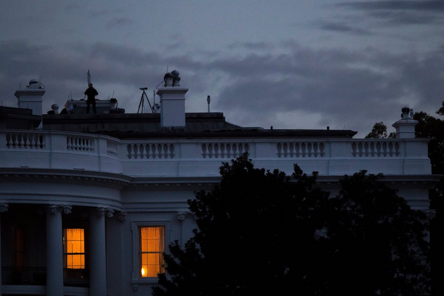 Day breaks on the South Portico of the White House.