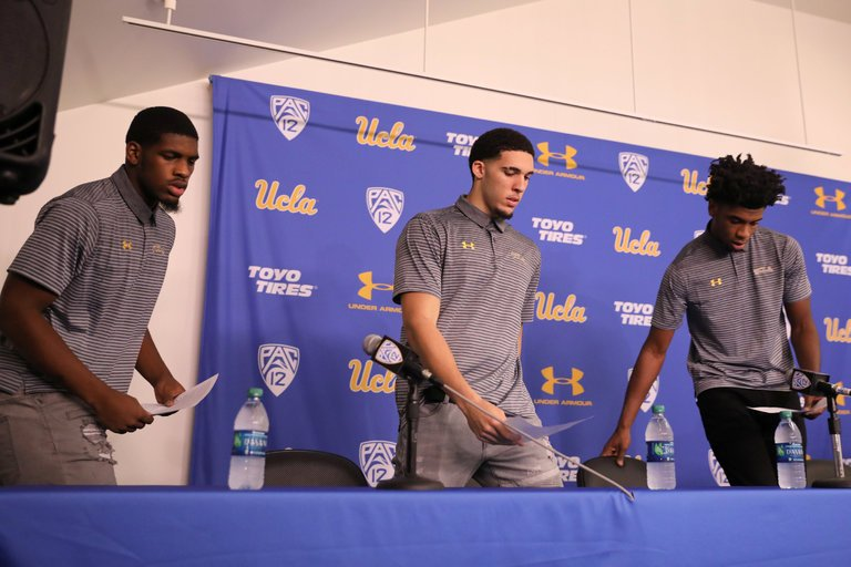Players Cody Riley, LiAngelo Ball and Jalen Hill at a news conference in Los Angeles.