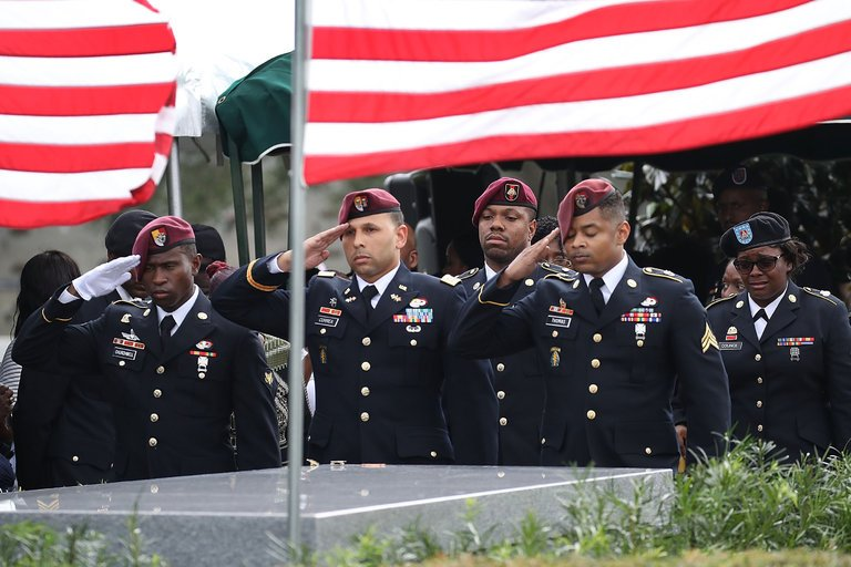 Special Forces troops at the burial service in Florida this past week for Sgt. La David T. Johnson, who was killed in Niger