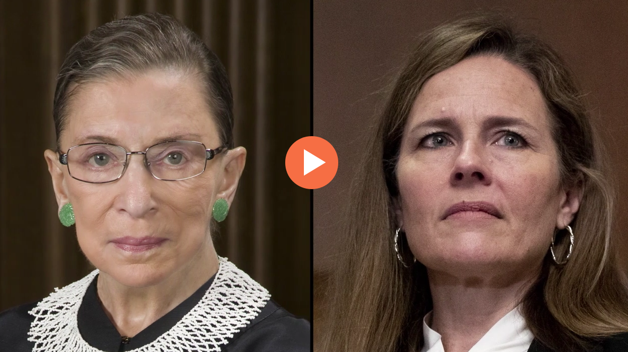Judge Amy Coney Barrett and Supreme Court Justice Ruth Bader Ginsburg