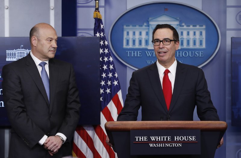 Treasury Secretary Steven Mnuchin and National Economic Director Gary Cohn speaking in White House briefing room