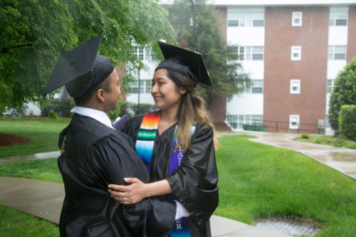 Jacob Maldonado and Maria Campos, friends and DACA recipients, on their graduation day