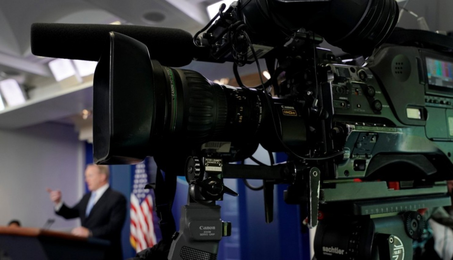 A television camera points away from White House press secretary Sean Spicer during Monday's briefing.
