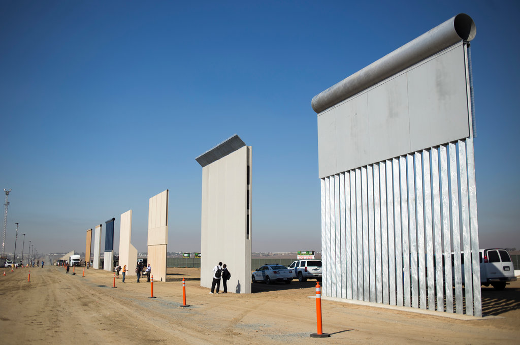 Prototypes of the border wall displayed in California in October.