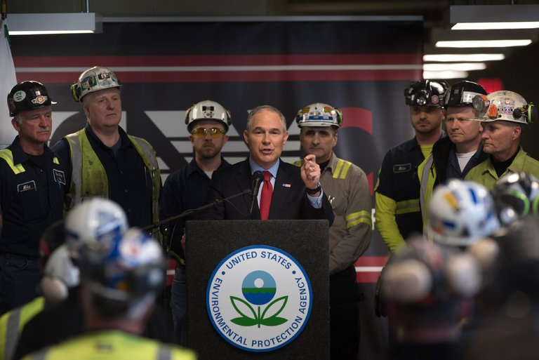 Scott Pruitt, the Environmental Protection Agency administrator, with coal miners in Sycamore, Pa
