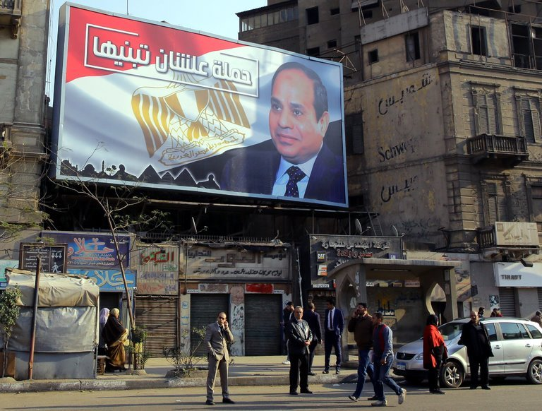 A billboard in Cairo of President Abdel Fattah al-Sisi of Egypt