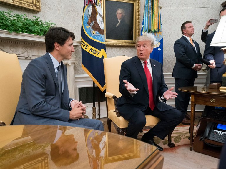 President Trump with Prime Minister Justin Trudeau of Canada in the Oval Office