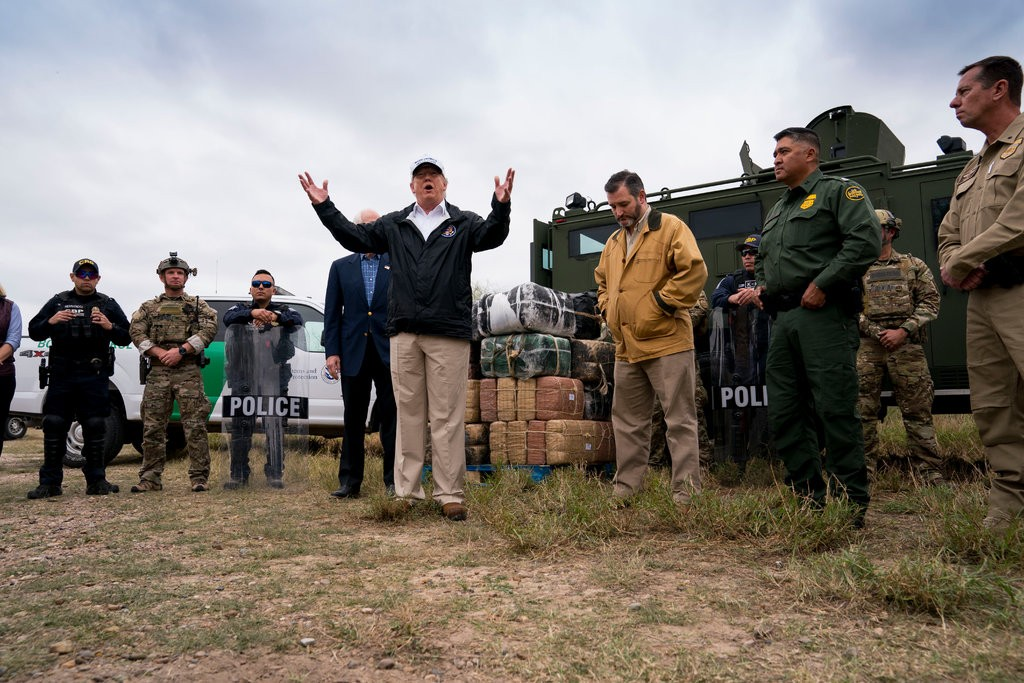 President Trump at the Rio Grande, near McAllen, Tex.