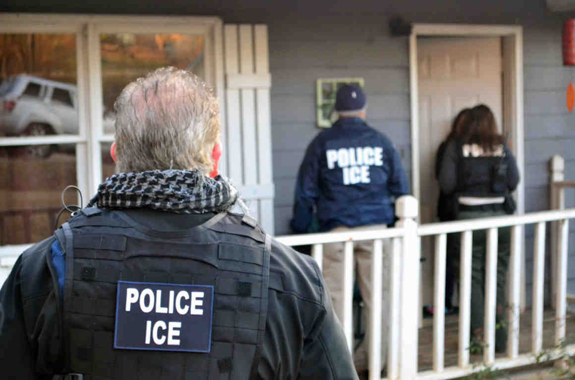 ICE agents outside home