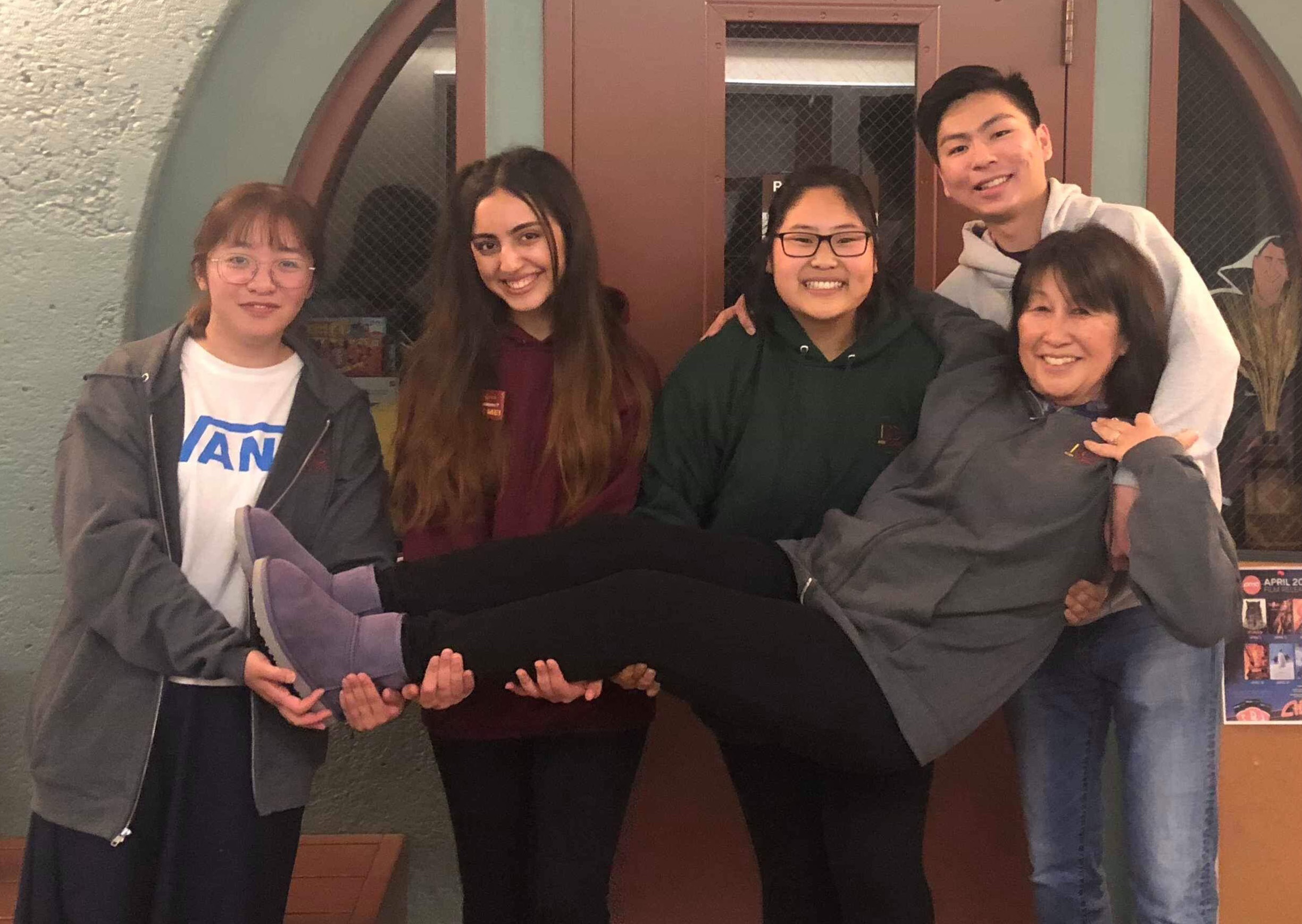 Picture of the 2019-2020 ICC Officers and Advisor; Back from left to right - Dolores Liu, Romina Iranmanesh, Amy Hua, Yuichi Asai, Front - La Donna Yumori-Kaku