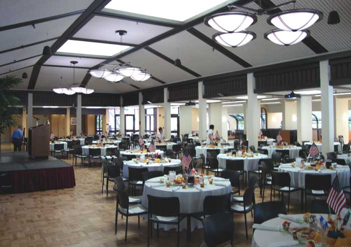 Main dining room with 32 tables setup