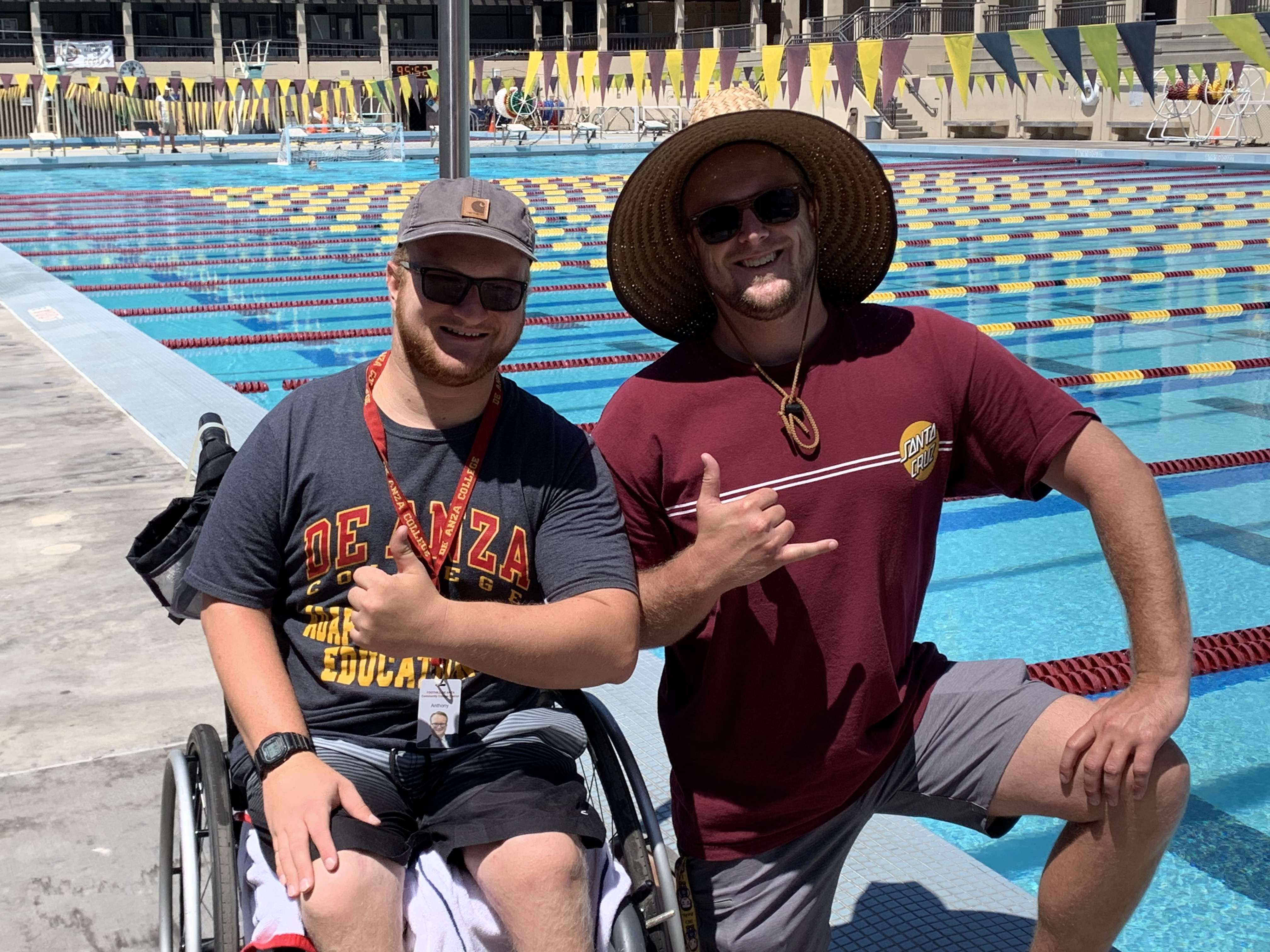 Anthony Salas & Casey R. Smiling and Hanging Loose by the Pool