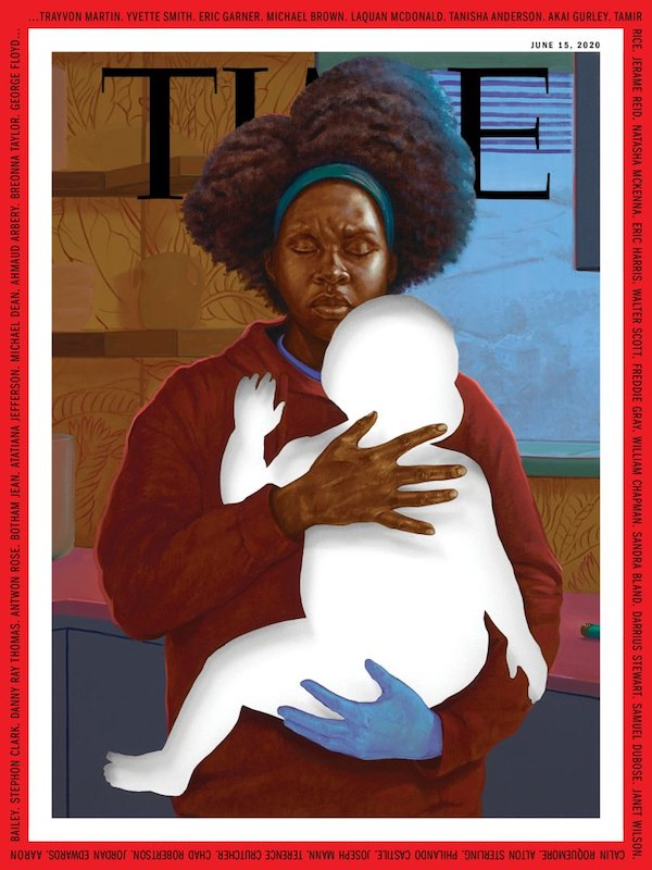 TIME cover with painting of mother holding empty space in shape of a child