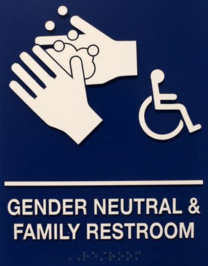 Gender Neutral and Family Bathrooms sign linked to De Anza College campus map