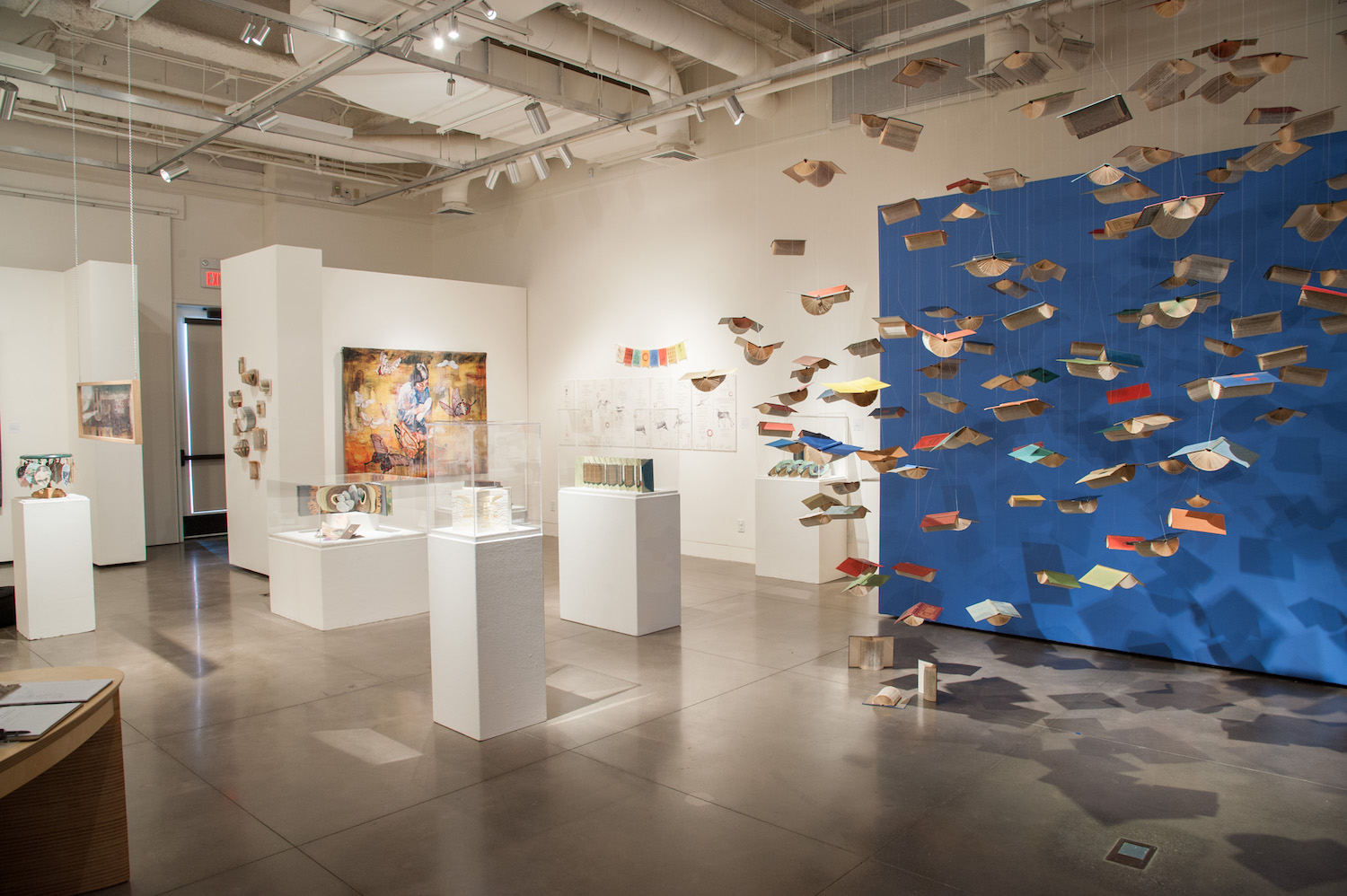 art pieces on display in the gallery