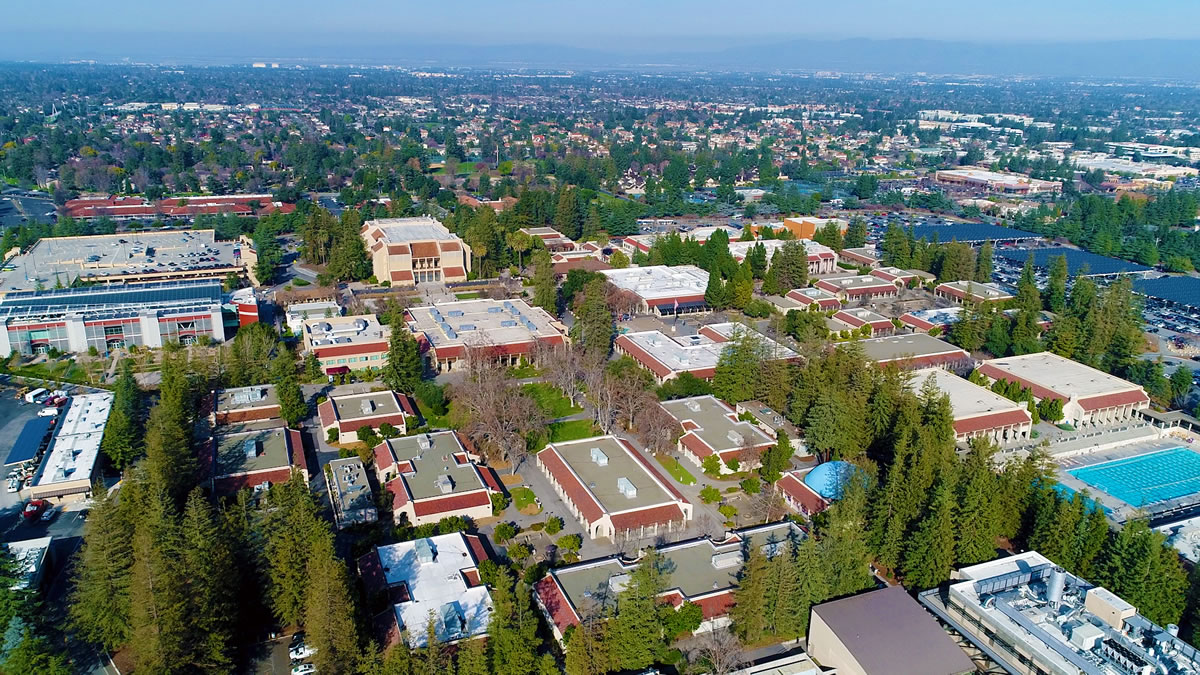 aerial shot of the De Anza campus