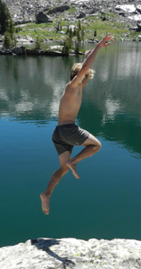 Man jumping into water