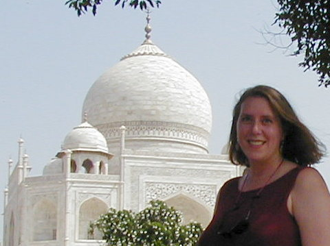 Michele Fritz with Taj Mahal in India, 2001