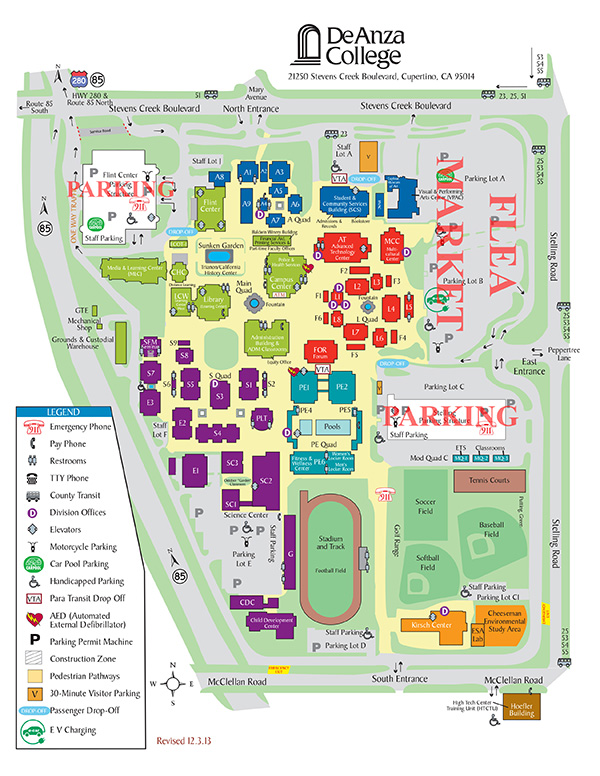 De Anza Map De Anza Campus Map with Flea Market Location De Anza Map