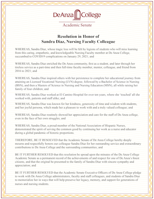 Resolution honoring Sandra Diaz