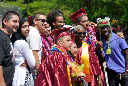 Group of De Anza graduates and friends