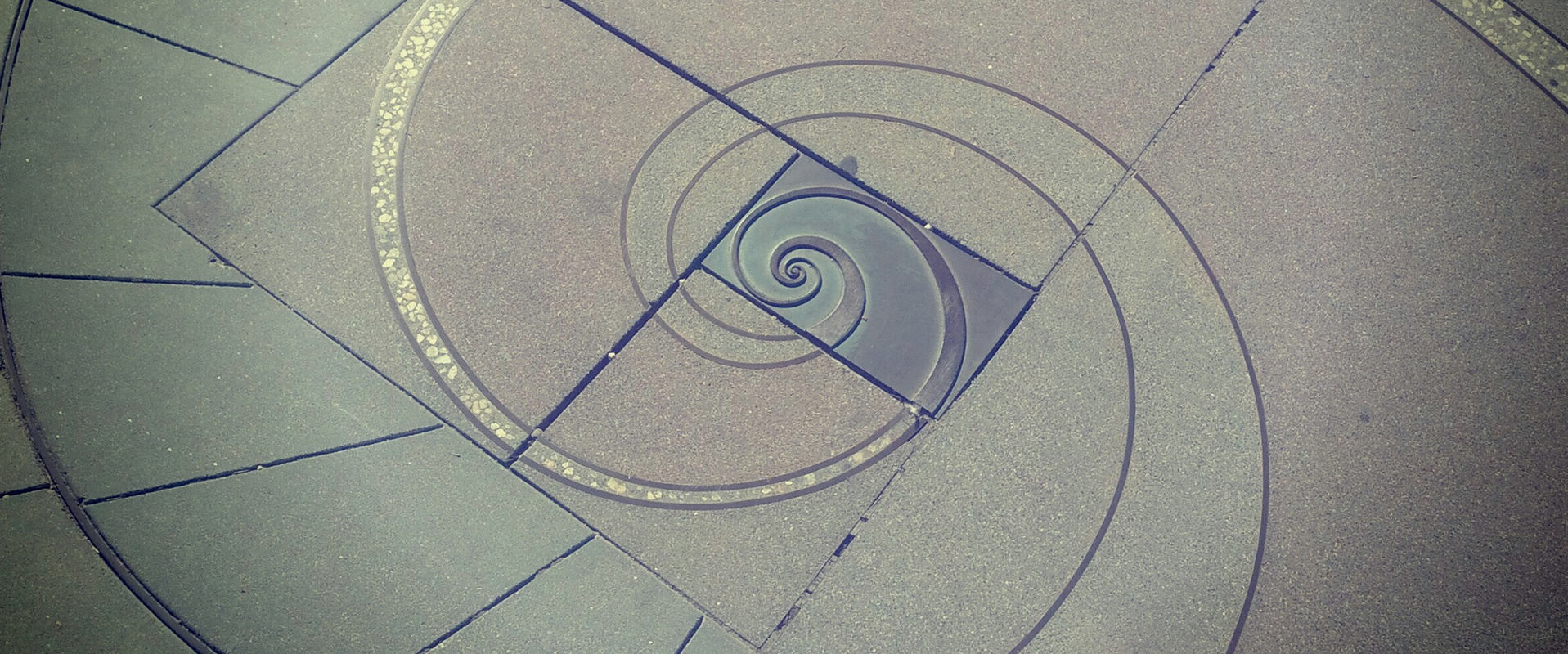 Spiral created in a sidewalk