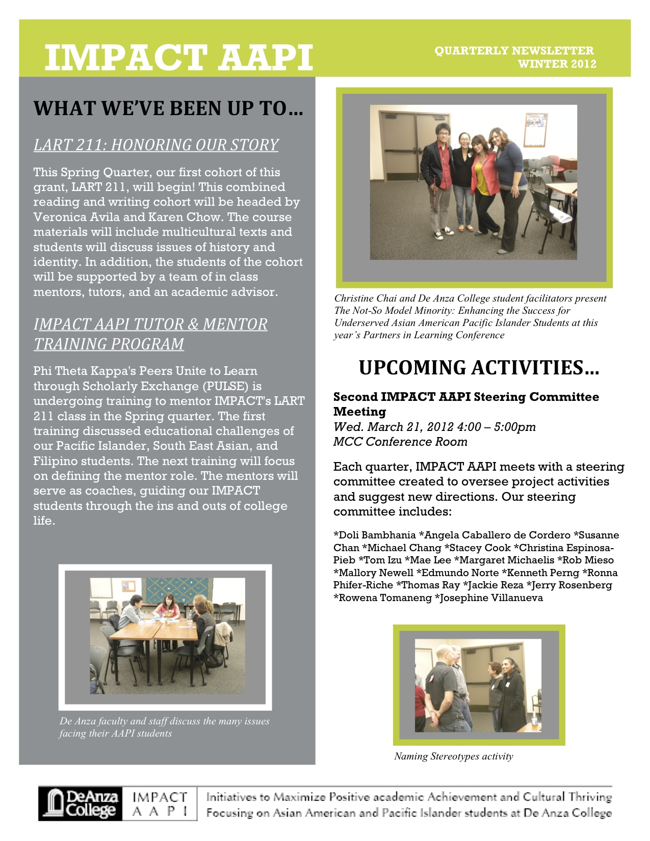 Winter '12 IMPACT AAPI Newsletter