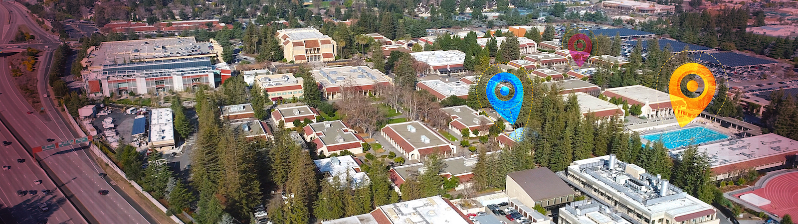 aerial shot of De Anza campus