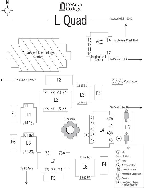 L Quad De Anza College Map on