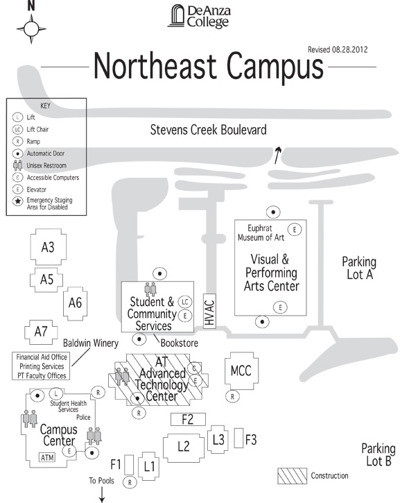 De Anza College  Campus Map  Northeast Campus
