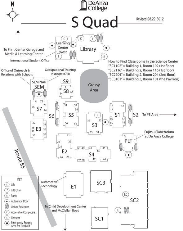 S Quad De Anza College Map on