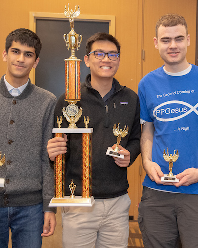 De Anza Quiz Bowl team members with trophies