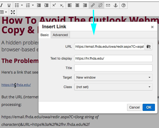 Screen display of using Insert/Edit Link tool to check URL of link