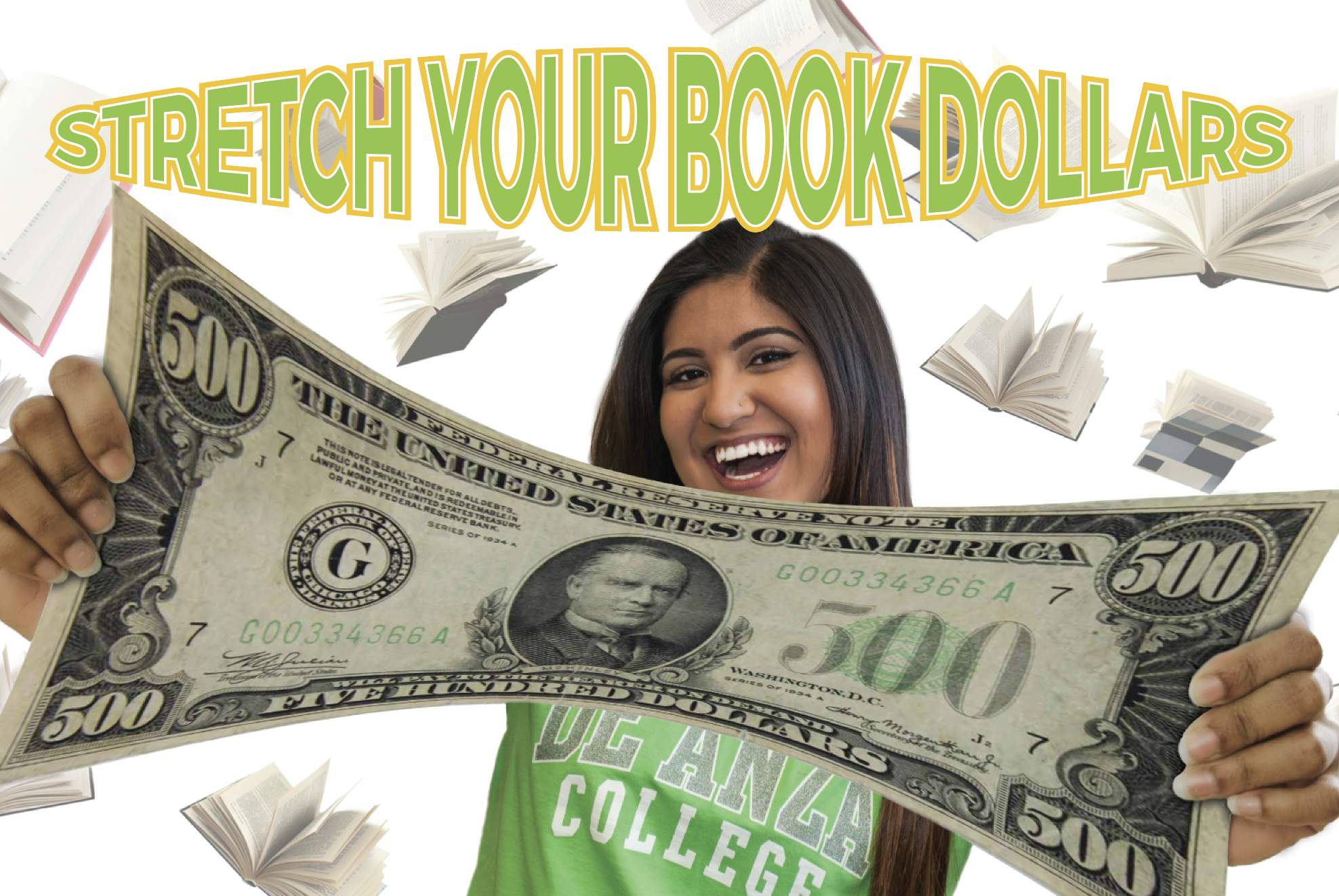 student stretching $500 bill