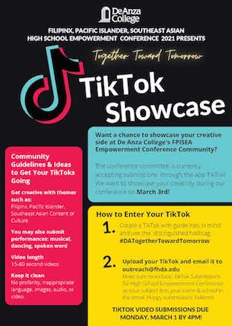TikTok showcase poster - words are on the webpage