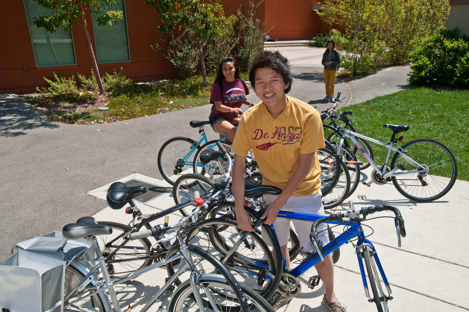 students at bike rack