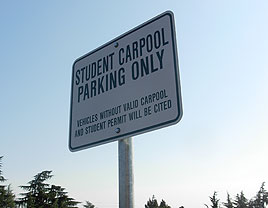 Student Carpool Parking Only Sign