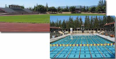 Photos of Outdoor Events Arena and pool.