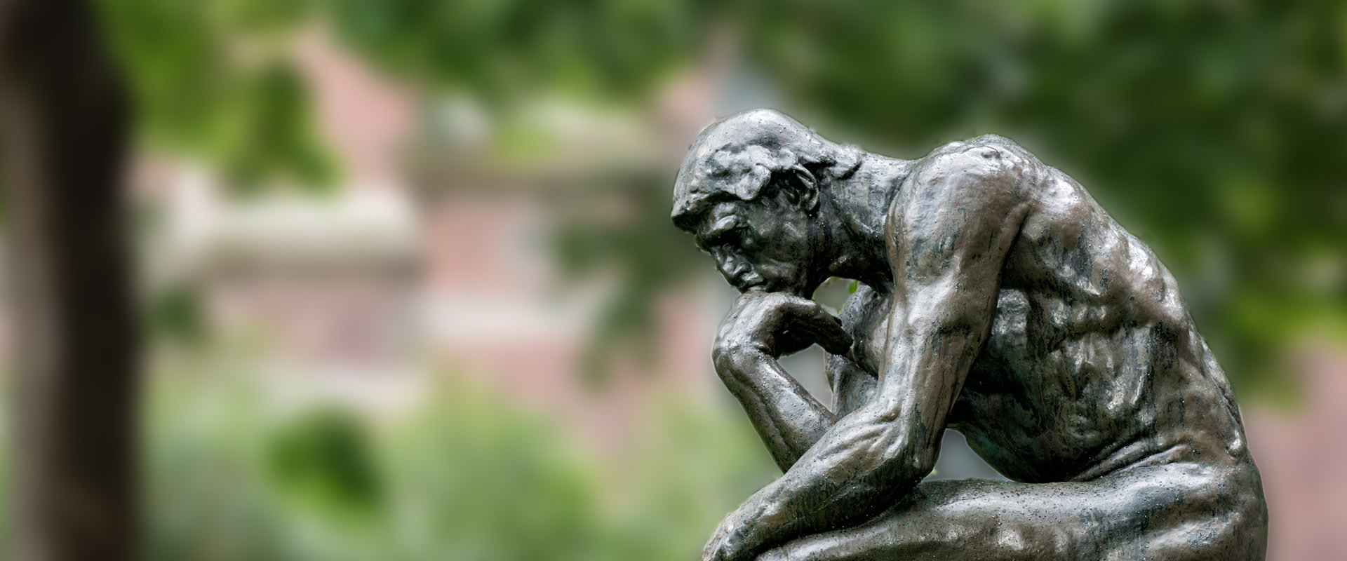 Statue of a philosopher thinking